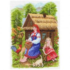 1554 Канва с рисунком Матренин посад 'Деревенский пейзаж' 37*49см