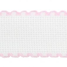 Канва 'лента', 1,5м*3,5см, 100% хлопок Bestex (белый/розовый)