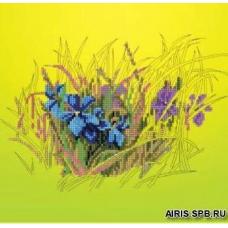 В1035 Канва с рисунком Alisena 'Фиалки в траве', 26*25 см