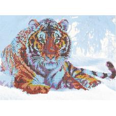 В1144 Канва с рисунком Alisena 'Тигр в снегу', 39*29 см