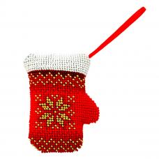 БИ-110 Набор для вышивания бисером 'Созвездие'. Новогодняя игрушка 'Варежка' 7,5*10,5 см