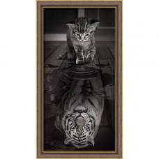 АЖ-1771 Картина стразами «Тигр внутри» 30*60см