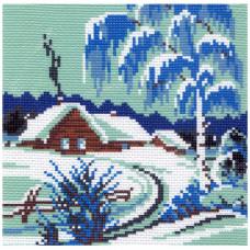 198-1 Канва с рисунком Матренин посад 'Зимнее утро' 21*29 см (28*37 см)