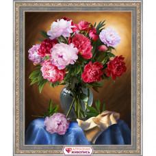 АЖ-1734 Картина стразами 'Шикарные пионы' 40*50см