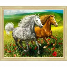 АЖ-1766 Картина стразами «Кони на лугу» 50*40 см