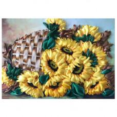 КЛ(л)-3026 Набор для вышивания лентами 'Корзина с подсолнухами' 27,6 *34,5 см