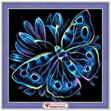 АЖ-1713 Картина стразами 'Неоновая бабочка' 25*25см