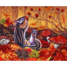 НР-3017 Канва с рисунком для вышивания бисером 'Бурундучки' Hobby&Pro 25*20см