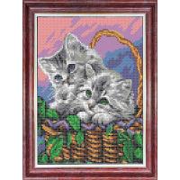 КБЖ-4036 Канва с рисунком для бисера 'Мамы и их зверята.Котята ' А4