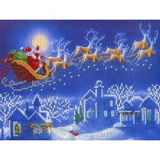 НР-3025 Канва с рисунком для вышивания бисером 'Новогодняя упряжка' Hobby&Pro 25*19см