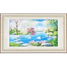 9079 Картина со стразами 'На пруду', 128*76см