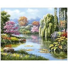Ag 2240 Набор д/изготовления картин со стразами 'Живописное озеро' 48*38см Гранни
