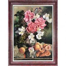 КЛ(л)-3015 Набор для вышивания лентами 'Розы с фруктами' 27х 35см