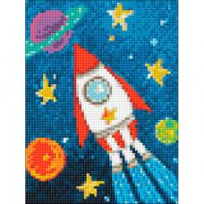 Ag 2267 Набор д/изготовления картин со стразами 'Космический корабль' 15*20 см Гранни
