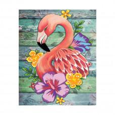 M027 Алмазная картина Колор Кит 'Цветочный фламинго'17*21см