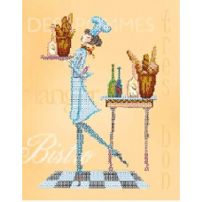 В1084 Канва с рисунком Alisena 'Официантка бистро', 25*32 см