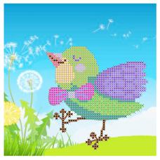 НР-7 Ткань с нанесенным рисунком и схемой для вышивания бисером 'Птичка певчая' 20*20 см