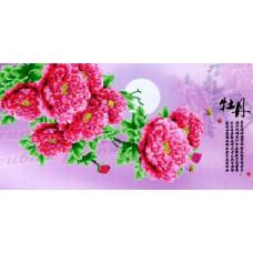 8634 Картина со стразами 'Китайская гвоздика', 102*56см