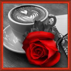 АЖ-1773 Картина стразами «Роза и кофе» 25*25см
