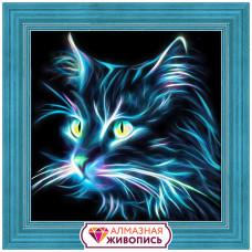 АЖ-1709 Картина стразами 'Неоновый кот' 25*25см