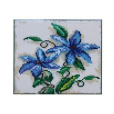 H1004 Мозаика 'Синие цветы' 19*22 см. (холст 22*25см), Cristal