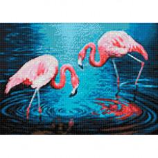 Ag 3442 Набор д/изготовления картин со стразами 'Фламинго на озере' 38*27см Гранни