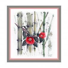 1268 Набор для вышивания ОВЕН 'Камелии в бамбуковой роще'30×27 см