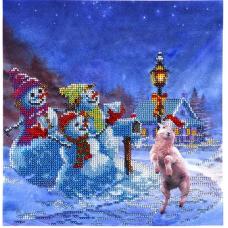 НР-3028 Канва с рисунком для вышивания бисером 'Снеговики' Hobby&Pro 25*25см