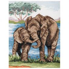PCE963 Набор для вышивания Anchor 'Слоны' 23*18см