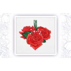 010 Набор для вышивания крестом Astrea 'Розы сердце. Февраль' 23х24см