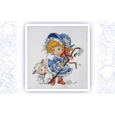 653 Набор для вышивания крестом Astrea 'Маленькая пастушка' 20х21см