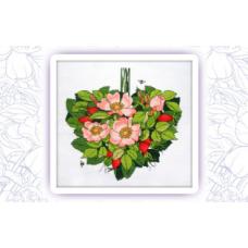 016 Набор для вышивания крестом Astrea 'Шиповник сердце. Август' 22х24см