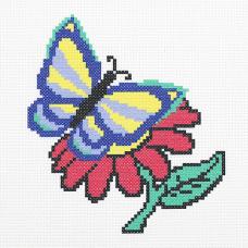 ПК-170 Набор (рис/канв.мулине) Hobby&Pro 'Бабочка и цветочек' 22*22см