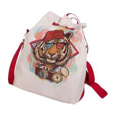 9162 Набор сумка из холста с нанесенным рисунком и подкладкой Матренин Посад 'Хиппи' 37х37х12 см