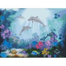 6118 Набор для вышивания счетным крестом Матренин посад 'Дружба дельфинов' 40*55см