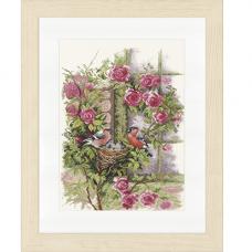 0008020-PN Набор для вышивания LanArte 'Гнездящиеся птицы на плетистой розе' 29x39 см