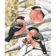 0169675-PN Набор для вышивания Lanarte 'Снегири на ветке' 21*27 см