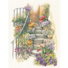 0169680-PN Набор для вышивания Lanarte 'Лестница в цветах' 27*37 см