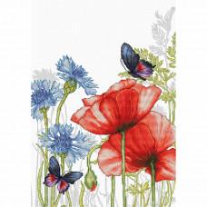 BU4018 Набор для вышивания Luca-S 'Маки и бабочки' 22,5*31см