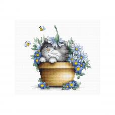 B1048 Набор для вышивания 'Котенок в цветах' 16*15,5см, Luca-S