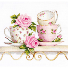 BA2327 Набор для вышивания 'Чайные чашки с розами' 27*19,5см , Luca-S