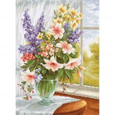 BU4015 Набор для вышивания 'Цветы у окна' 25*34см, Luca-S