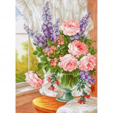 BU4016 Набор для вышивания 'Цветы у окна' 25*34см, Luca-S