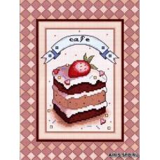 0163 Набор для вышивания'Клубничное пирожное' 19х25,5 см