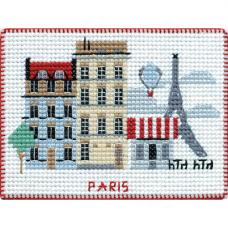 1065 Магнит на пластиковой канве ОВЕН 'Столицы мира. Париж' 9х7см