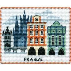 1066 Магнит на пластиковой канве ОВЕН 'Столицы мира. Прага' 9х7см