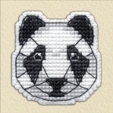 1092 Значок на пластиковой канве ОВЕН 'Панда' 4,4х4,5см