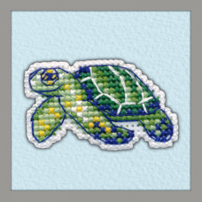 1097 Значок на пластиковой канве ОВЕН 'Черепаха' 4,4х4,5см