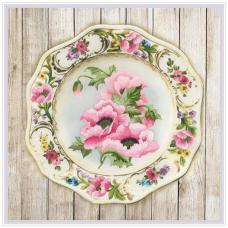 РТ-0075 Тарелка с розовыми маками. Гладь