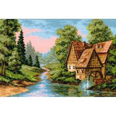1097 Пейзаж с водяной мельницей